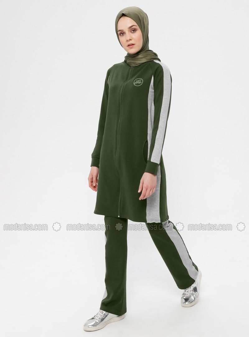 wholesale sales newest well known Khaki - Cotton - Polo neck - Tracksuit Set