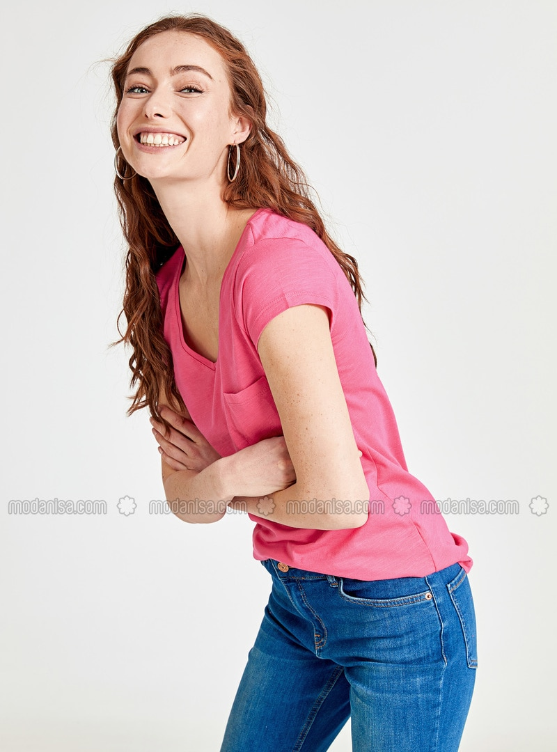 Fuchsia - V neck Collar - T-Shirt