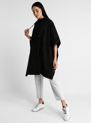 Black - Unlined - Cotton - Poncho