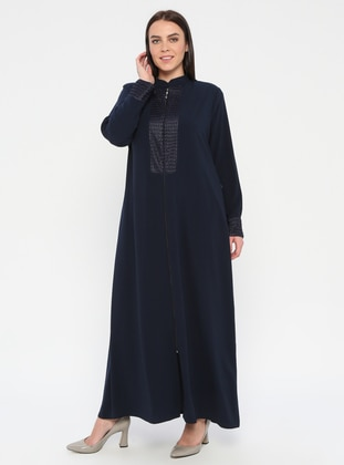 Navy Blue - Crew neck - Unlined - Plus Size Abaya - Jamila