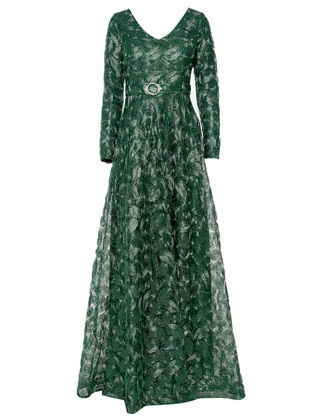 Green - Fully Lined - V neck Collar - Muslim Evening Dress
