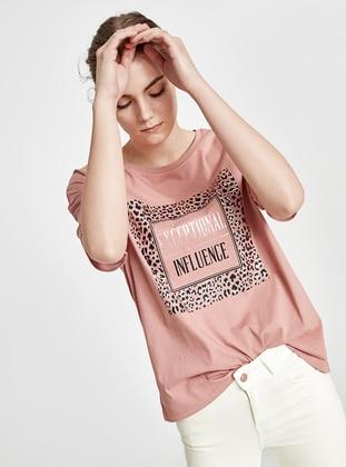 Pink - Crew neck - T-Shirt - LC WAIKIKI