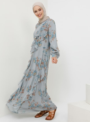 Blue - Multi - Crew neck - Fully Lined - Dress