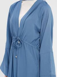 Navy Blue - Indigo - Unlined - V neck Collar - Abaya