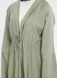 Green - Unlined - V neck Collar - Abaya