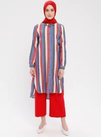 Saxe - Stripe - Point Collar - Cotton - Tunic
