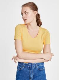 Yellow - V neck Collar - T-Shirt