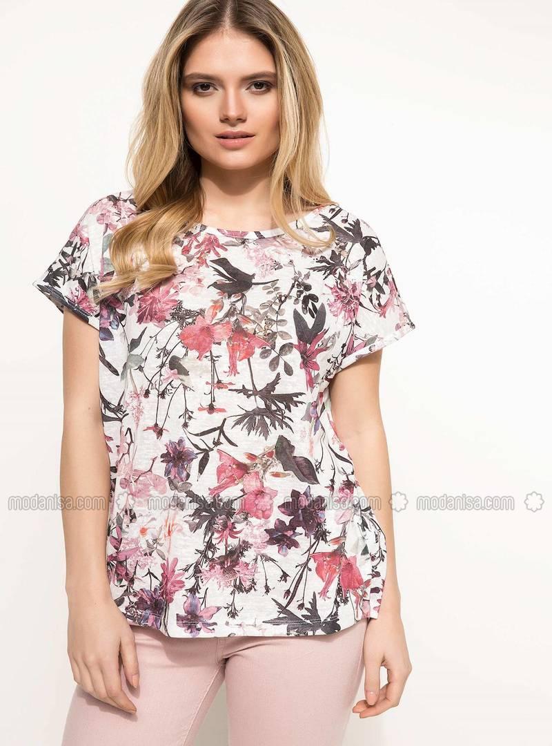 0a9f5eeec2c77 Çiçek Desenli Kısa Kollu T-shirt - Bordo
