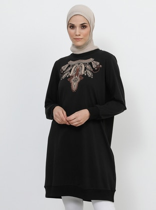 Black - Cotton - Tunic with Front Print