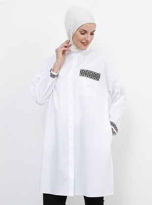 White - Ecru - Button Collar - Cotton - Tunic