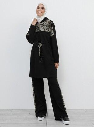 Black - Leopard - Cotton - Tracksuit Set