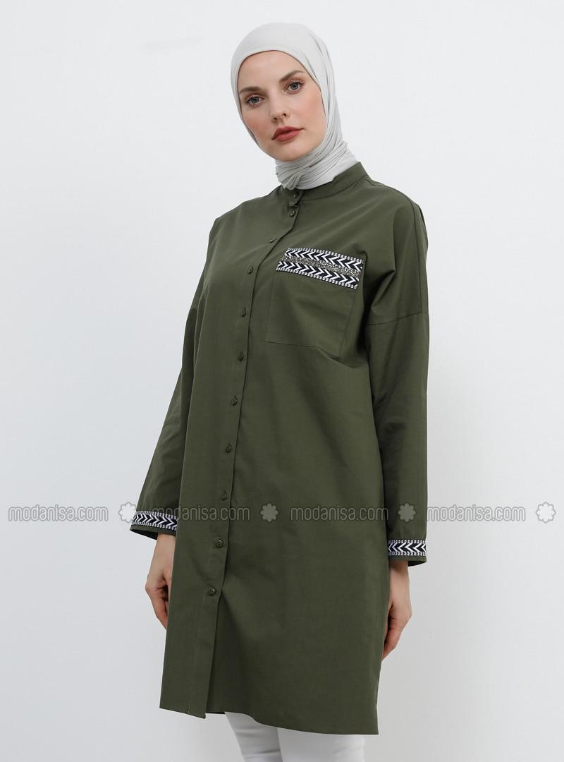 Khaki - Button Collar - Cotton - Tunic