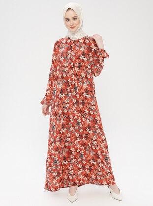 - Floral - Crew neck - Unlined - Viscose - Dress