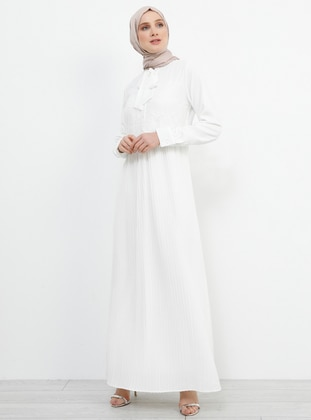 White - Ecru - Polo neck - Fully Lined - Dress