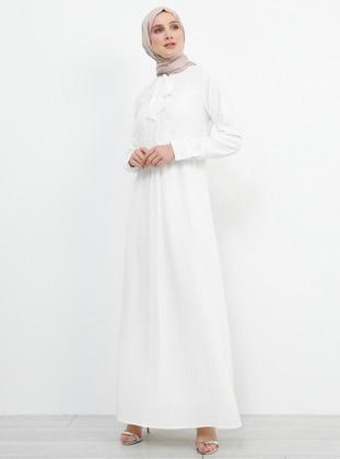 White - Ecru - Polo neck - Fully Lined - Dress