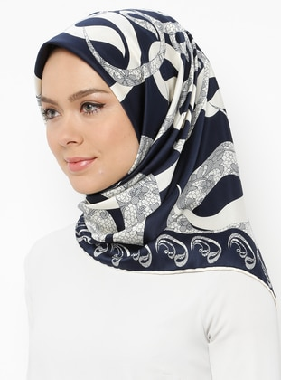 Navy Blue - Cream - Printed - Scarf - Gülsoy