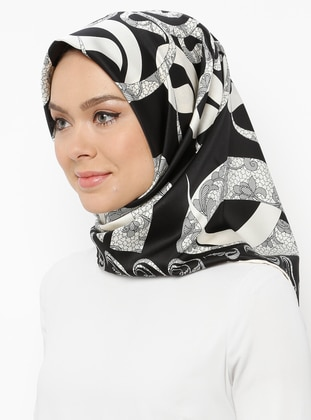 Black - Cream - Printed - Scarf - Gülsoy