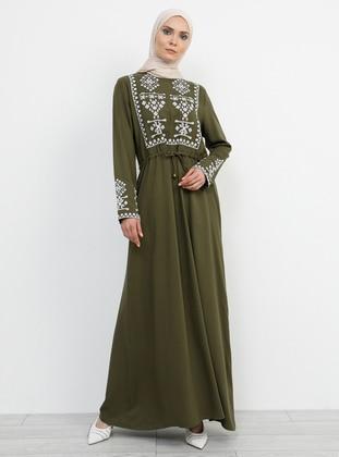 Khaki - Crew neck - Unlined - Viscose - Dress