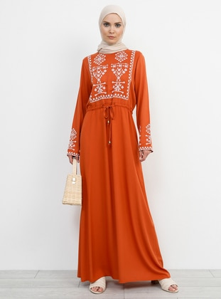 Terra Cotta - Crew neck - Unlined - Viscose - Dress