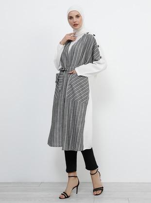Black - White - Gray - Ecru - Stripe - Unlined - Button Collar - Cotton - Topcoat