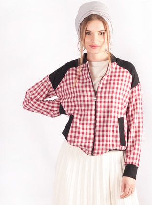 Red - Plaid - Unlined - Cotton - Jacket