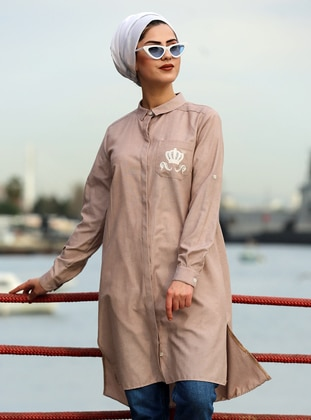 Beige - Point Collar - Tunic
