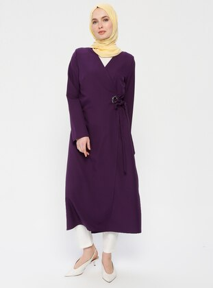 Purple - Unlined - V neck Collar - Topcoat