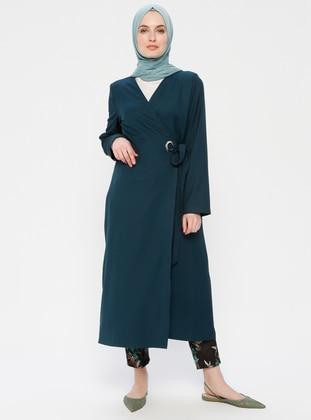 Green - Unlined - V neck Collar - Topcoat