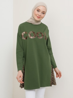Khaki - Leopard - Crew neck - Cotton - Tunic