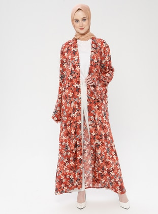 - Floral - Unlined - Shawl Collar - Viscose - Abaya