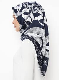 White - Navy Blue - Printed - Scarf