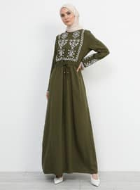 Khaki - Crew neck - Unlined - Viscose - Dress
