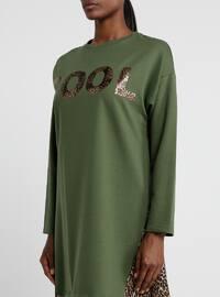 Khaki - Leopard - Crew neck - Cotton - Tunic