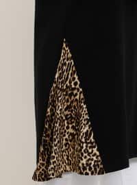 Black - Brown - Leopard - Crew neck - Cotton - Tunic
