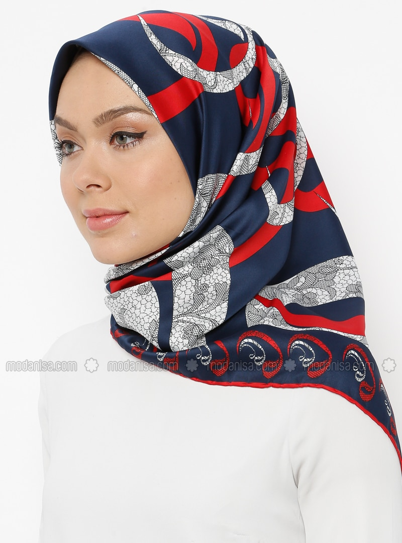 Red - Navy Blue - Printed - Scarf