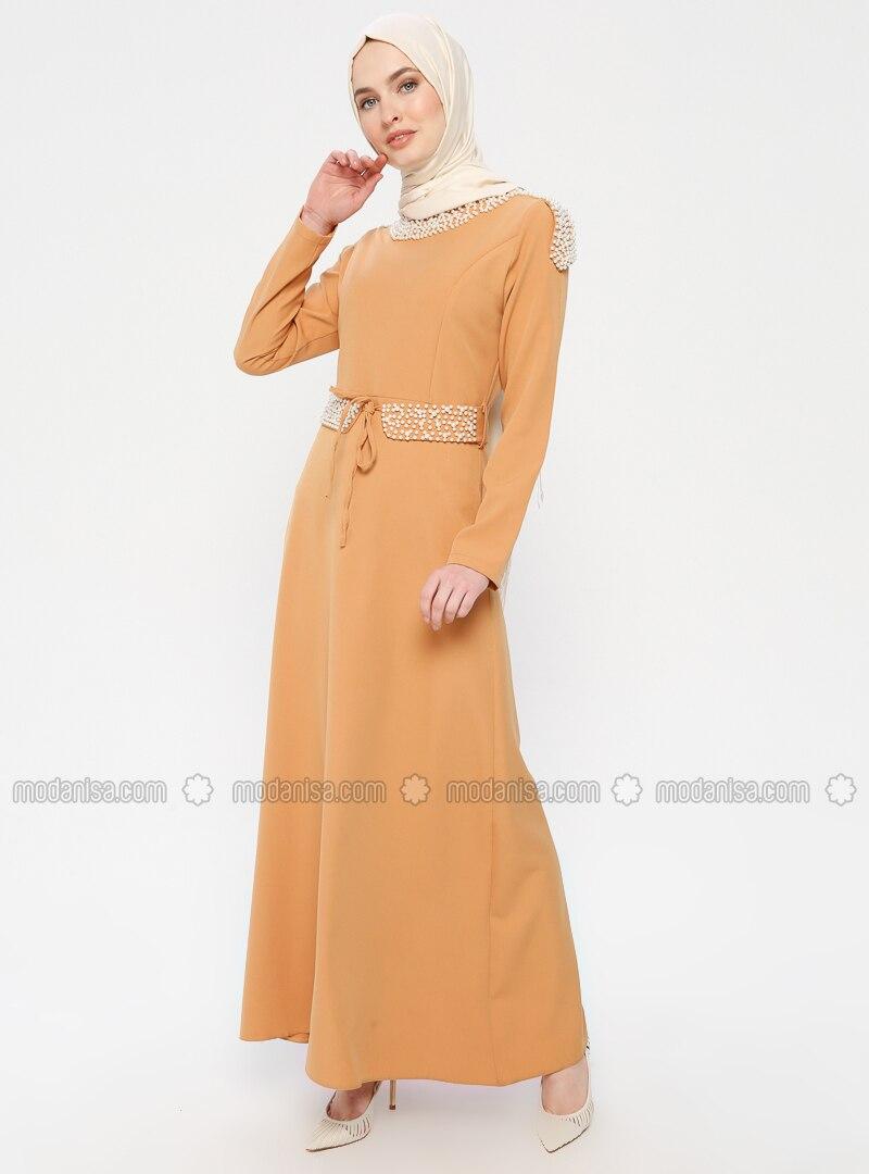 Yellow - Mustard - Crew neck - Unlined - Dress