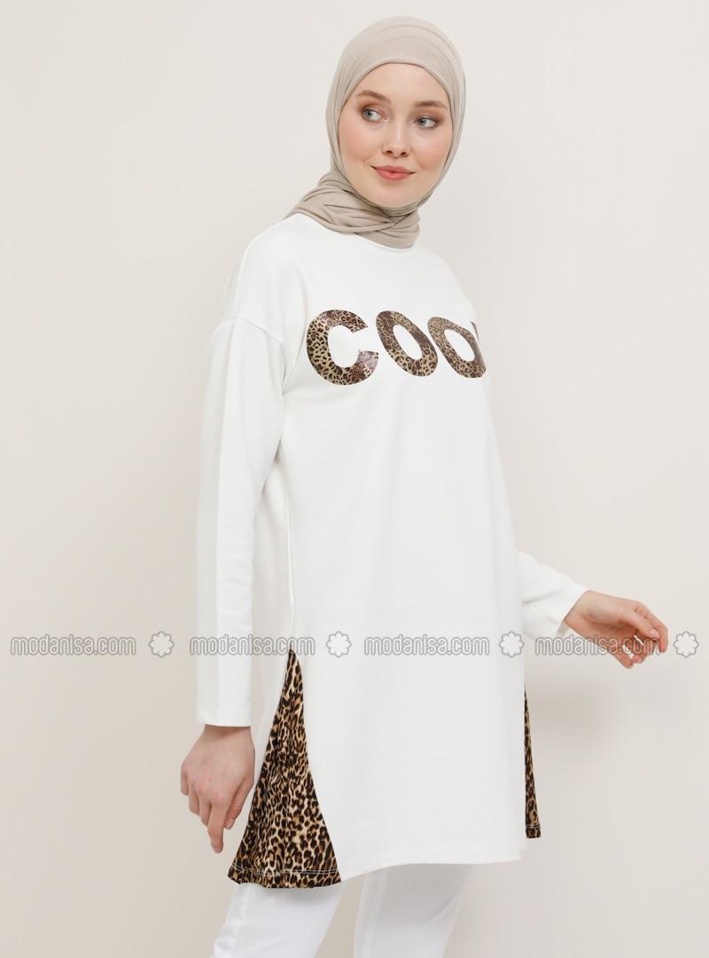 White - Brown - Ecru - Leopard - Crew neck - Cotton - Tunic