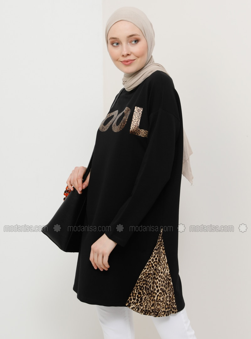 Black - Brown - Leopard - Crew neck - Cotton - Tunic