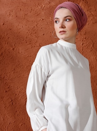 White - Ecru - Polo neck - Viscose - Blouses - Mnatural