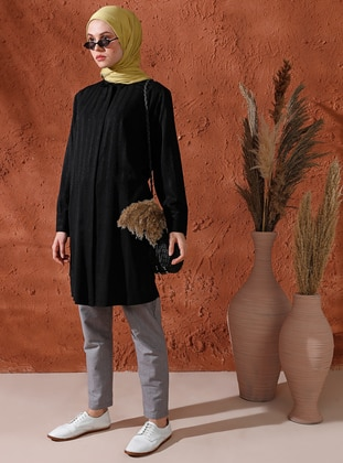 Black - Point Collar - Viscose - Tunic