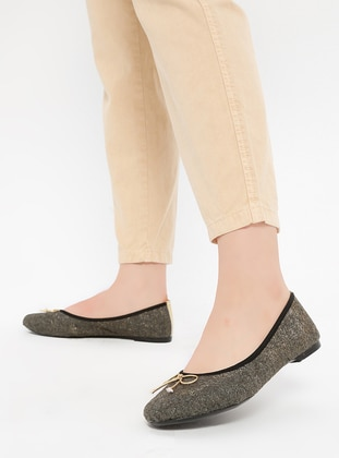 Gold - Khaki - Flat - Flat Shoes