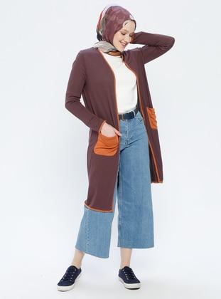 Brown - Shawl Collar - Cardigan