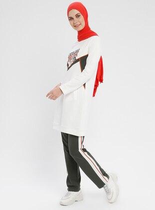 Cream - Stripe - Cotton - Crew neck - Tracksuit Set