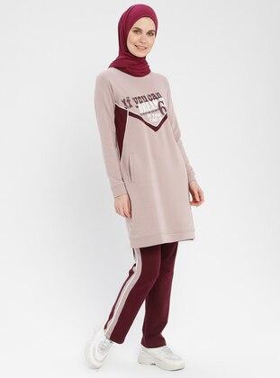 Lilac - Plum - Stripe - Cotton - Crew neck - Tracksuit Set