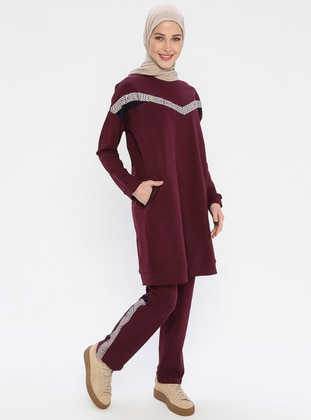 Plum - Cotton - Crew neck - Tracksuit Set