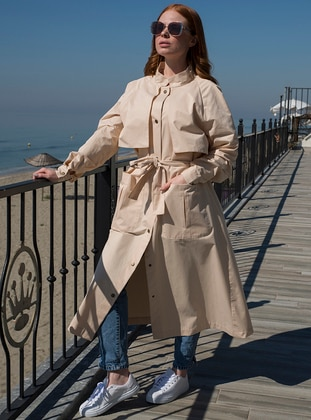 Beige - Unlined - Crew neck - Trench Coat