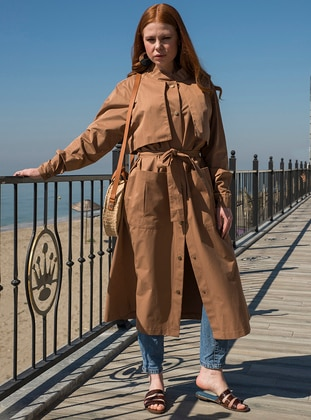 - Unlined - Crew neck - Trench Coat - Ayşen Özen