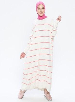 Beige - Coral - Stripe - Crew neck - Unlined - Acrylic -  - Dress