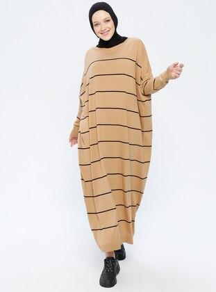 Black - Camel - Stripe - Crew neck - Unlined - Acrylic -  - Dress