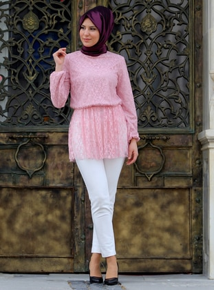 Pink - Powder - Polo neck - Pink - Polo neck - Cotton - Blouses